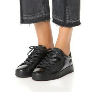 Rag and Bone Black Rb1 Glossed Leather Sneakers 7